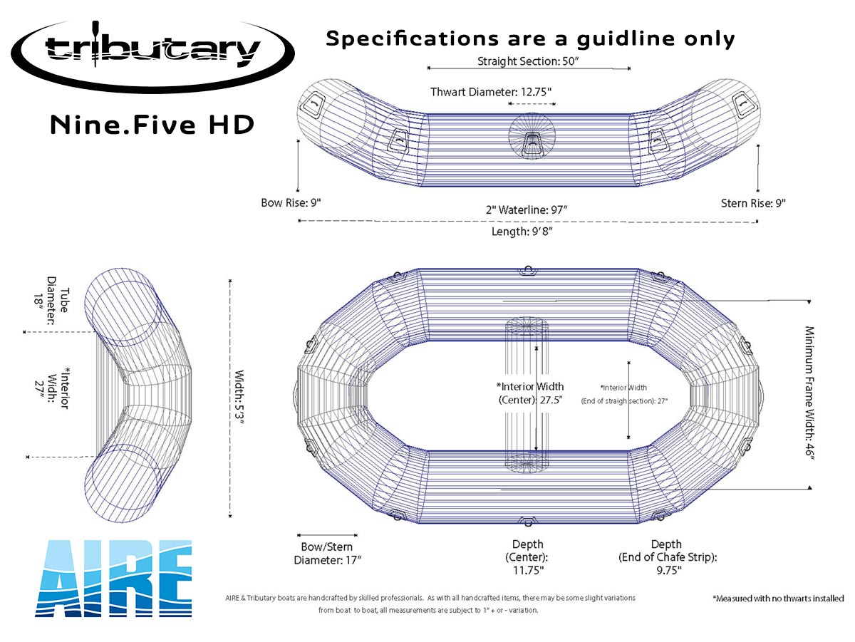 Tributary Nine.Five HD Whitewater Raft Wireframe